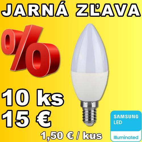 V-TAC PRO SAMSUNG LED žiarovka E14 C37 7W teplá biela - 10 kusov