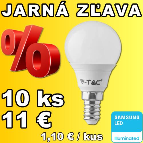 V-TAC PRO SAMSUNG LED žiarovka E14 P45 5,5W teplá biela - 10 kusov