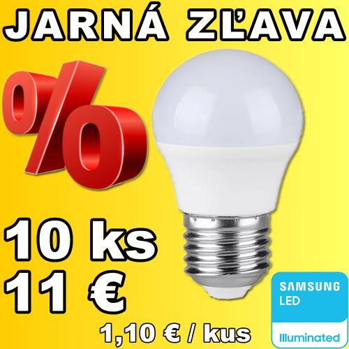 V-TAC PRO SAMSUNG LED žiarovka E27 G45 5,5W teplá biela - 10 kusov