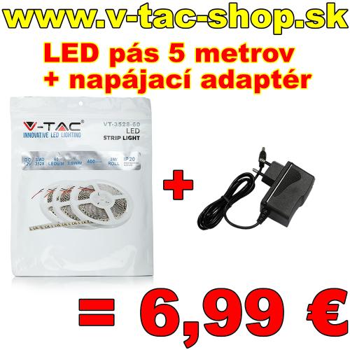 LED pás studená biela 5m + napájací adaptér
