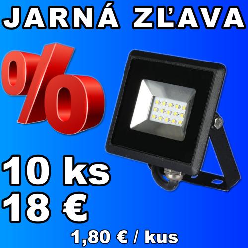 V-TAC LED reflektor 10W studená biela čierny - 10 kusov