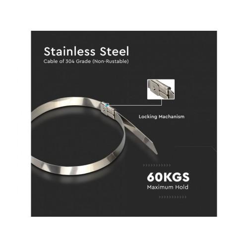 V-TAC sťahovacie pásky 4,6 x 300mm oceľové - balenie 100 ks