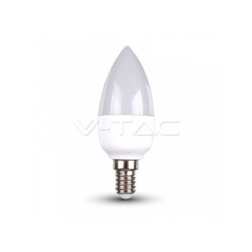 V-TAC LED žiarovka E14 C37 5,5W studená biela