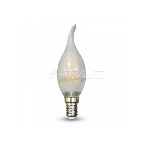 V-TAC LED žiarovka  E14 C37 4W teplá biela filament frost