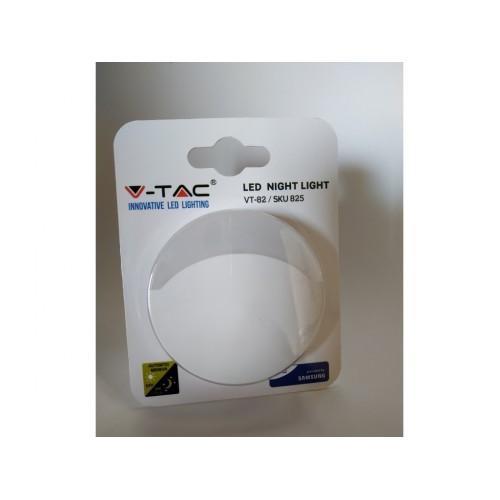 V-TAC PRO LED nočné svetlo do zásuvky denná biela kruhové
