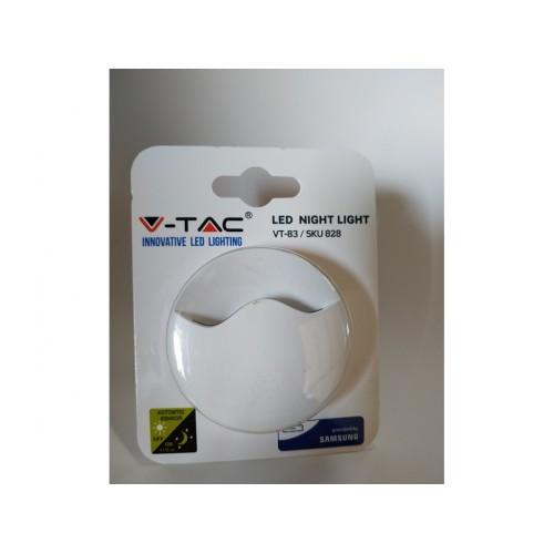 V-TAC PRO LED nočné svetlo do zásuvky teplá biela kruhové