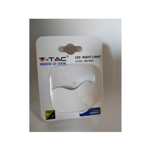 V-TAC PRO LED nočné svetlo do zásuvky teplá biela štvorcové