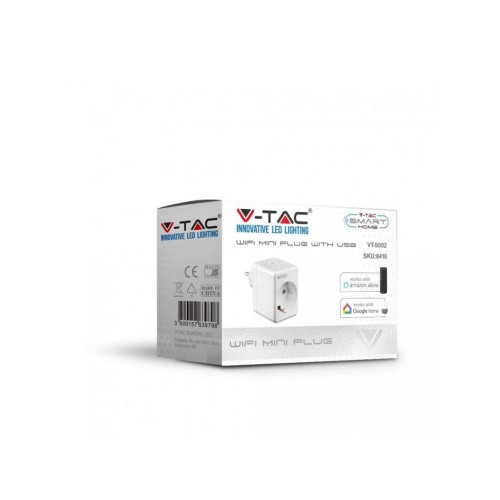V-TAC SMART zásuvka interiérová s USB výstupom