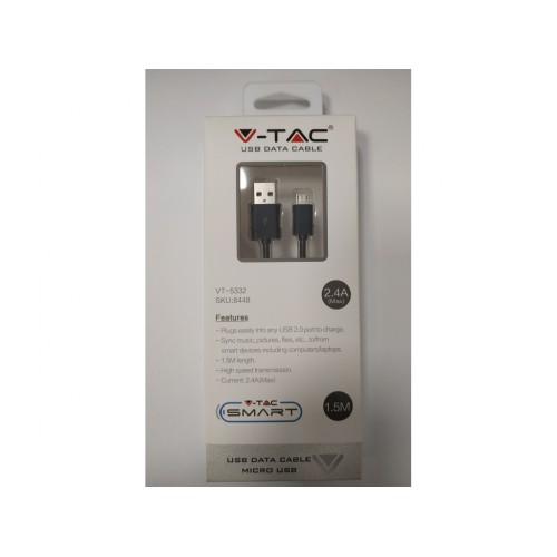 V-TAC USB kábel - micro USB 1,5m čierny