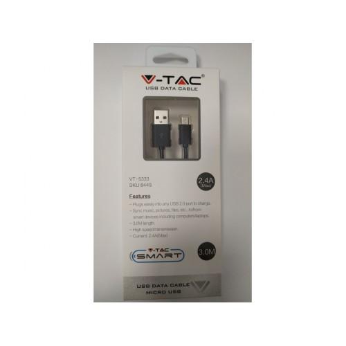 V-TAC USB kábel - micro USB 3m čierny