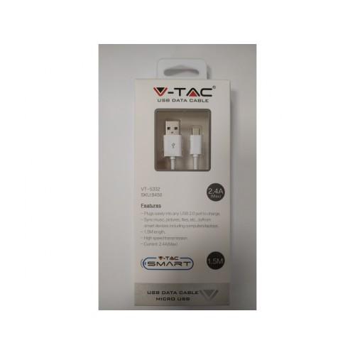 V-TAC USB kábel - micro USB 1,5m biely