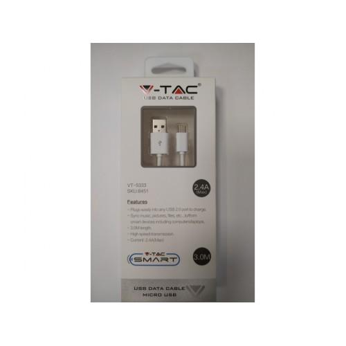 V-TAC USB kábel - micro USB 3m biely