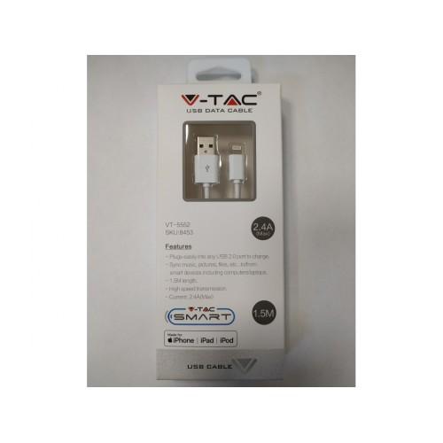 V-TAC USB kábel - Apple lightning 1,5m biely - MFi certifikácia