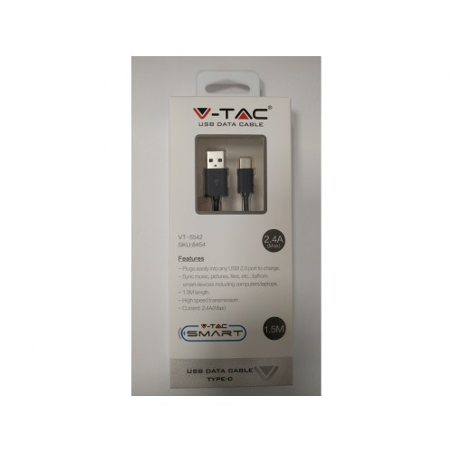 V-TAC USB kábel - USB-C 1,5m čierny