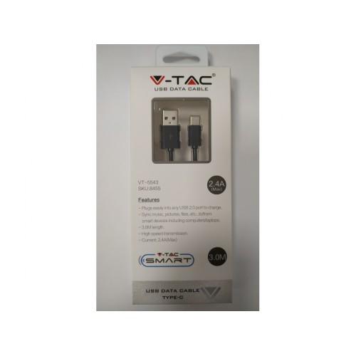 V-TAC USB kábel - USB-C 3m čierny