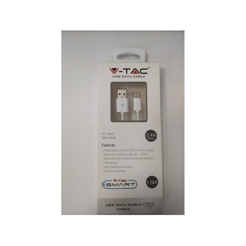 V-TAC USB kábel - USB-C 1,5m biely