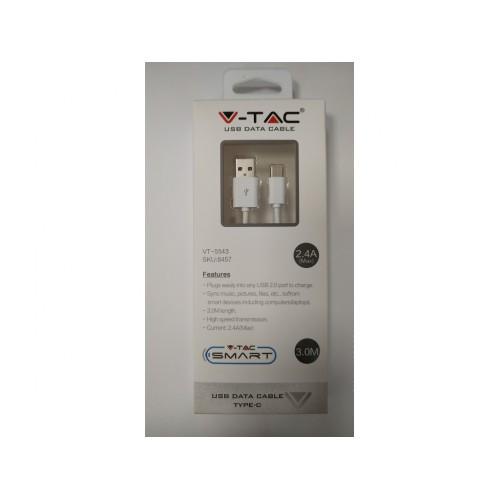 V-TAC USB kábel - USB-C 3m biely
