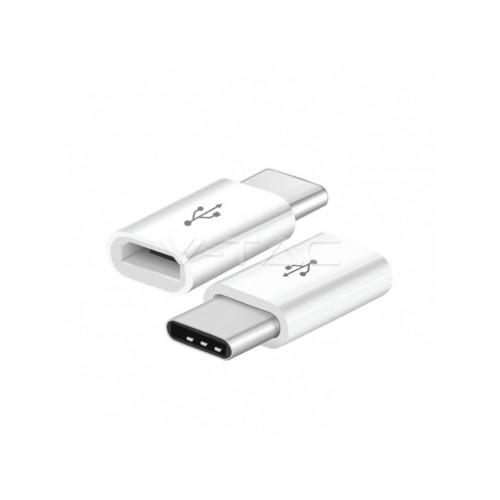 V-TAC redukcia z micro USB na USB-C biela