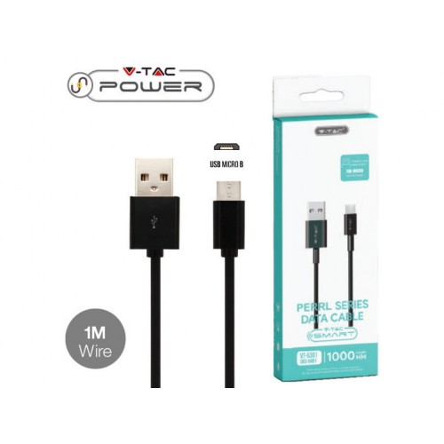 V-TAC POWER USB kábel MICRO-USB 1m čierny