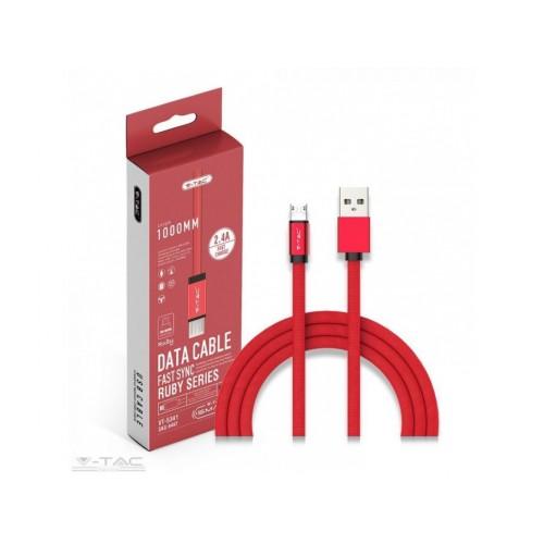 V-TAC POWER USB kábel MICRO-USB 1m červený