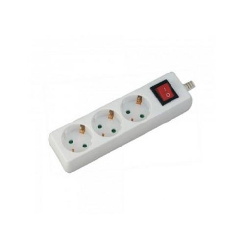 V-TAC POWER predlžovací kábel s vypínačom - 3x zásuvka 1,5m biely