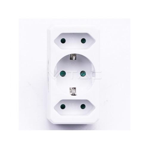 V-TAC POWER rozdvojka - 3x zásuvka biela