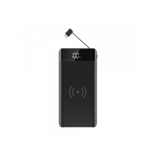 V-TAC POWER - power bank 20 000mAh + bezdrôtové nabíjanie + micro USB kábel - čierny