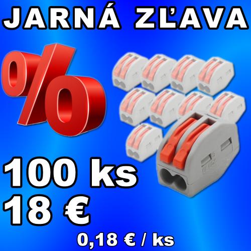 V-TAC káblová svorka 2-pin jedno-cestná - 100 kusov