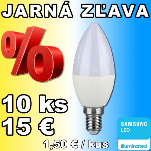 V-TAC PRO SAMSUNG LED žiarovka E14 C37 7W denná biela - 10 kusov