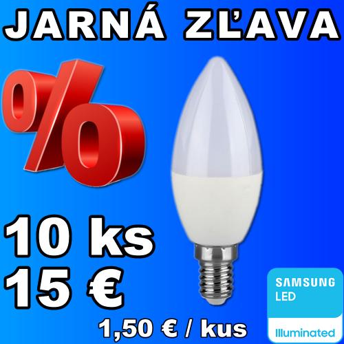 V-TAC PRO SAMSUNG LED žiarovka E14 C37 7W studená biela - 10 kusov