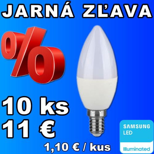 V-TAC PRO SAMSUNG LED žiarovka E14 C37 5,5W studená biela - 10 kusov