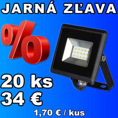 V-TAC LED reflektor 10W studená biela čierny - 20 kusov