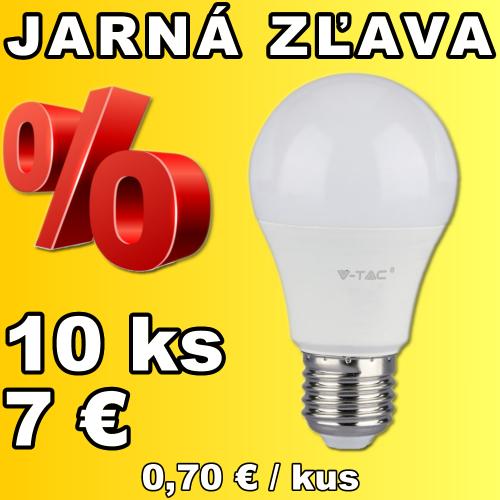 V-TAC LED žiarovka E27 A60 9W teplá biela - 10 kusov